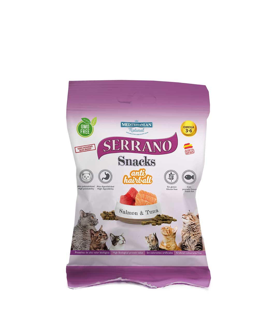 serrano snacks para gatos de salmón y atún de Mediterranean Natural