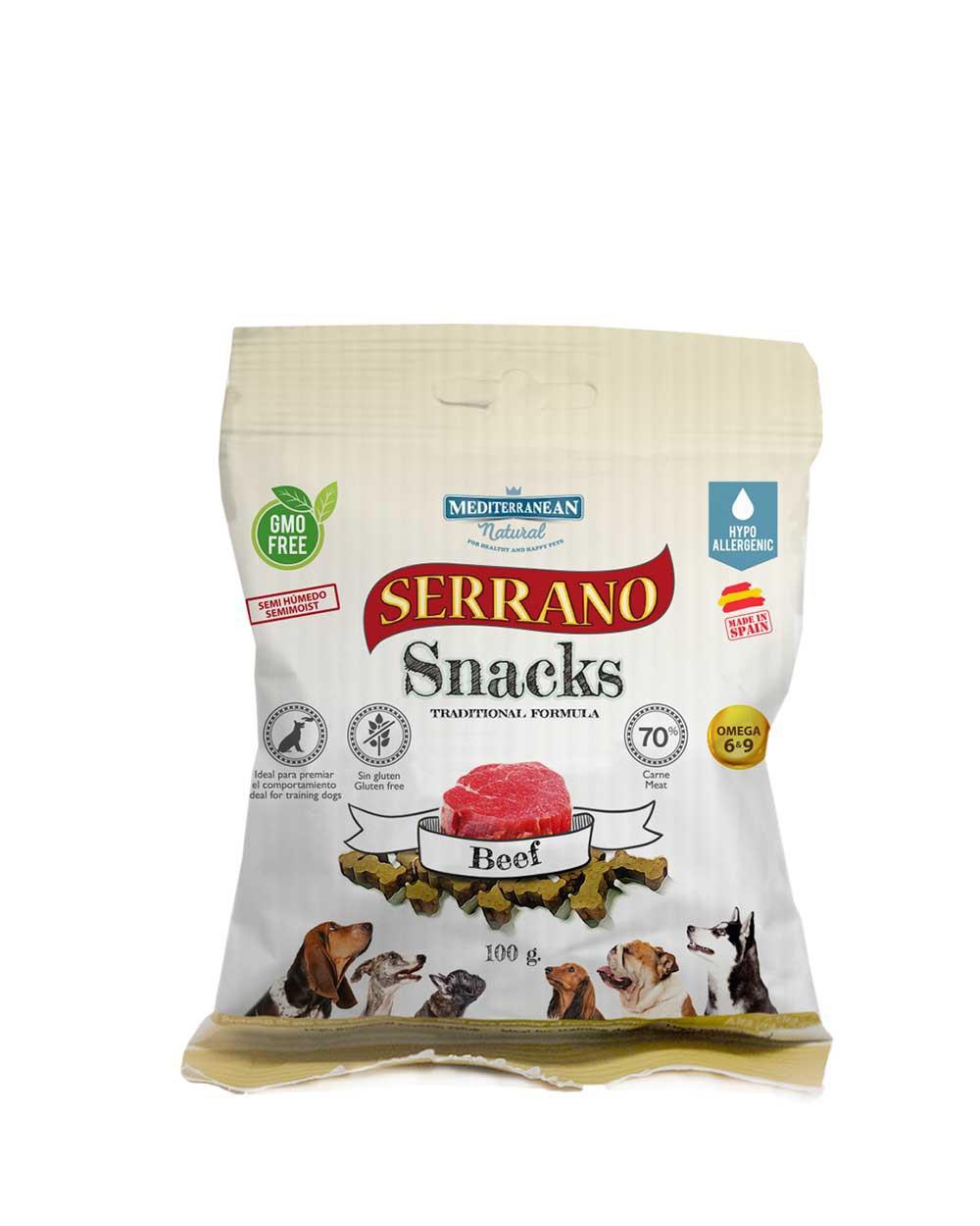 Serrano snacks para perros de buey de Mediterranean Natural
