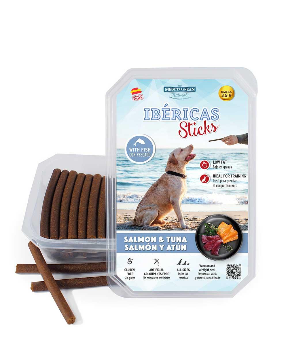 ibericas sticks de salmón y atún para perros Mediterranean Natural